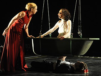 File:Michal Weinberg and Shiri Golan in Mary Stuart by Gadi Dagon.jpg (Source: Wikimedia)