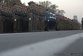 Belgrade Military Parade - Image: Military Parade Belgrade 2014 Serbian Soldiers with Russian Knights The Swifts (16658313117)