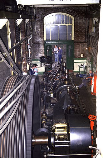 Bamford - The mill engine running during a public open day in 1986
