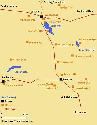 Wiluna, Western Australia - Mining in the Wiluna-Leinster area.