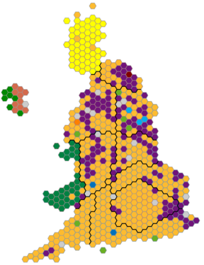 Election results showing the best-performing party in each constituency, other than Conservative or Labour.