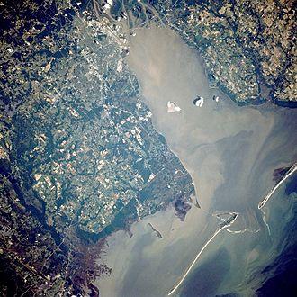 Mobile Bay jubilee - A Landsat image of Mobile Bay facing north-northeast