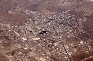 Monahans, Texas - Air photo of part of Monahans facing northeast in 2012