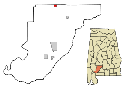 Location in Quận Monroe, Alabama