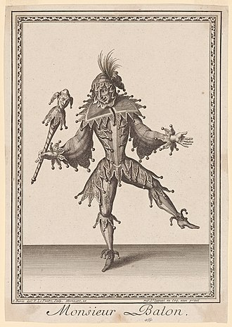 Claude Balon - A print of Balon depicted as a harlequin or jester