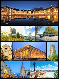 Clockwise from top: Place de la Bourse by the Garonne, Allées du Tourny and Maison du Vin, Pont de pierre on the Garonne, Meriadeck Commercial Centre, portal of City hall garden, and Saint-André Cathedral with the Bordeaux tramway