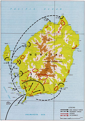 A topographic map of Morotai depicting the landings of US units in September, the Allied perimeter in the south-west of the island, concentrations of Japanese forces and routes used by the Japanese to withdraw from the Allied beachhead.