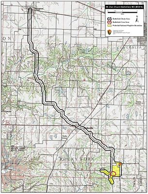 Map Of Mount Zion Church Battlefield Core And Study Areas By The American Battlefield Protection Program