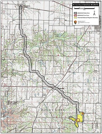 Battle of Mount Zion Church - Map of Mount Zion Church Battlefield core and study areas by the American Battlefield Protection Program.