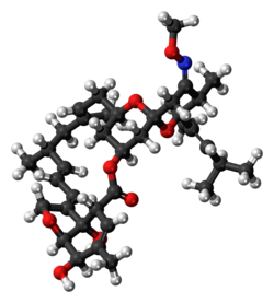 Ball-and-stick model of the moxidectin molecule