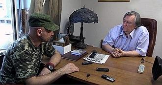Alexander Prokhanov - Prokhanov with Aleksey Mozgovoy, the Lugansk militia leader. 7 August 2014