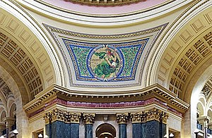 Kenyon Cox - Liberty mural design by Kenyon Cox, Wisconsin State Capitol dome interior