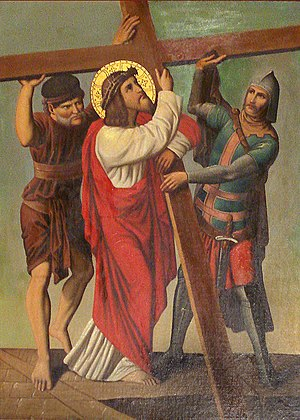 Catholic devotions to Jesus - Jesus helped by Simon of Cyrene, 19th century Brazilian depiction.