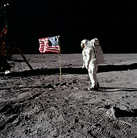 For the first time in history, a human being sets his foot on the Moon, in the Moon landing of July 1969.