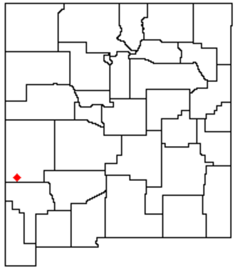 Mogollon Mountains - Location of the Mogollon Mountains in western New Mexico.