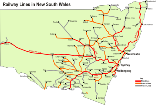 Rail transport in new south wales wikipedia map of rail lines in nsw sciox Image collections