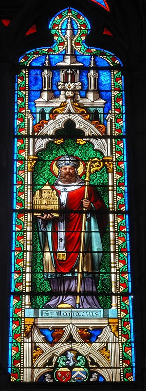 Namatius - Stained glass window showing Saint Namatius, from the Church of Saint-Eutrope in Clermont-Ferrand.