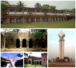 Clockwise from top: Naogaon K.D. Government High School, Bijoy Monument, Gaza Society office, Shadhinota Monument and Balihar Royal Palace.