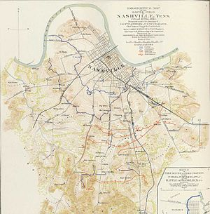History of Nashville, Tennessee - Map of Nashville during the Civil War