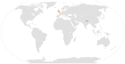 Map indicating locations of Nepal and United Kingdom