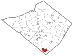 Location of New Morgan in Berks County, Pennsylvania.