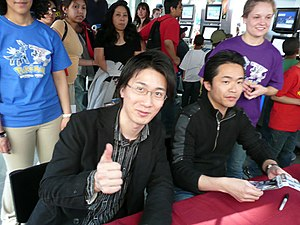Pokémon Diamond and Pearl - Director Junichi Masuda (right) and designer Shigeru Ohmori (left) at the North American release party in New York City