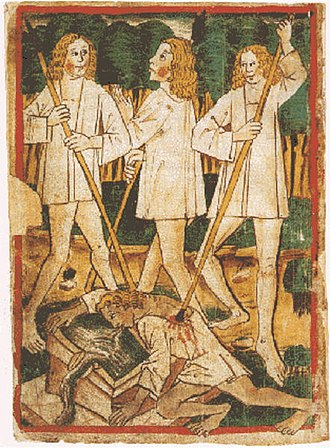 Nibelungenlied - The death of Siegfried. Nibelungenlied manuscript-k.