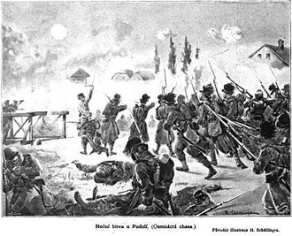 Battle of Podol - Night fighting at Podol, an 1896 illustration