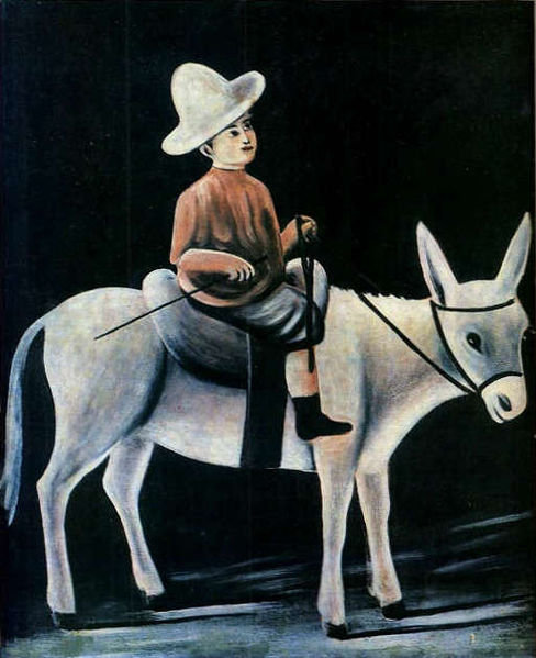 File:Niko Pirosmani. ''A Little Boy Riding a Donkey''. Oil painting on oilcloth. 80X99 cm. The State Museum of Fine Arts of Georgia.jpg