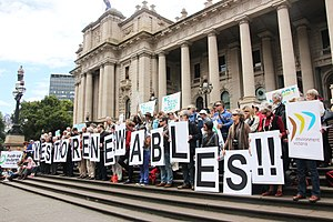 Renewable energy in Australia - Demonstration in front of the Parliament House, Melbourne supporting investment in renewable energy.