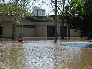 Iowa City, Iowa - The University of Iowa Museum of Art on North Riverside Drive during the height of the flood