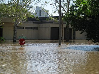 Iowa City, Iowa - The University of Iowa Museum of Art on North Riverside Drive during the height of the flood.