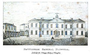 Nottingham General Hospital - Nottingham General Hospital from The History and Antiquities of Nottingham by James Orange, 1840