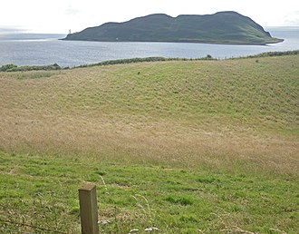 Campbeltown Loch - Campbeltown Loch with Davaar Island beyond and a grassy meadow in the foreground