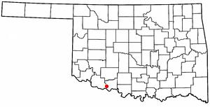 Devol, Oklahoma - Image: OK Map doton Devol