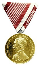 Obverse of the Gold Medal for Courage (Austria-Hungary, 1859-1866, Franz Joseph I).jpg