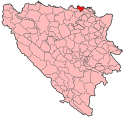 Location of Odžak within Bosnia and Herzegovina.