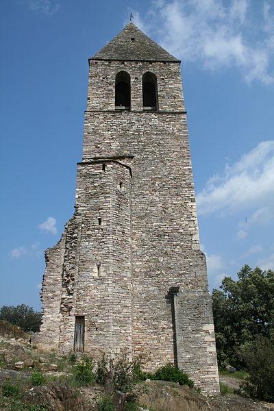 Olargues (Hérault) - Le clocher (XIIIe siècle) de l'ancienne église castrale Saint-Laurent.