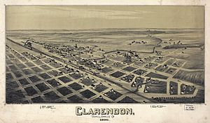 Clarendon, Texas - Map of the city in 1890