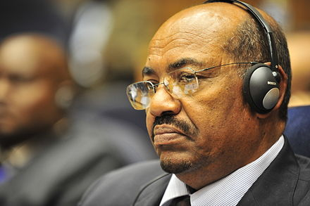 Sudanese President Omar al-Bashir, wanted by the ICC for war crimes and crimes against humanity. Omar al-Bashir, 12th AU Summit, 090131-N-0506A-342.jpg