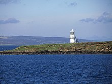 On board ferry from Lyness to Houton - View to Calf of Cava & Lighthouse (geograph 3745681).jpg