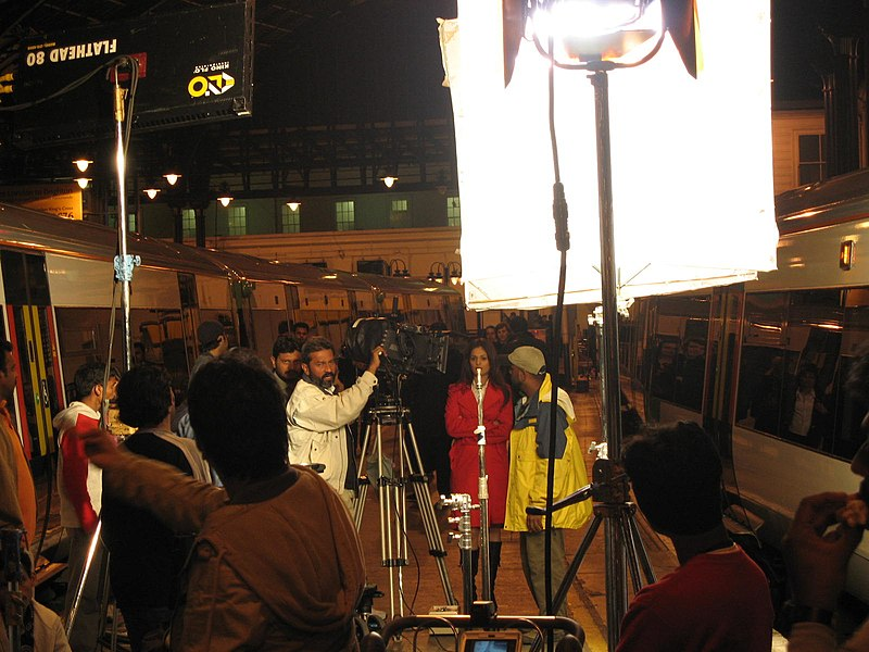 File:On the set of Salaami Ish, filmed on Brighton Station, arranged by Train Chartering.jpg
