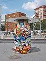 One of the 'Giant pebbles'. Street decoration. Barbara Szöllőssy & Zsolt Pyka works. Limestone blocks. - Móricz Zsigmond Square, Szentimreváros, Budapest District XI., Hungary.JPG