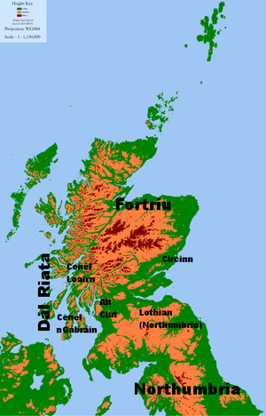 Óengus I - Selected political groups in Northern Britain around 740 AD.
