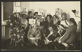 Otti Berger - Party at Otti Berger's.  Berger, back row far right, with headdress. Digital image courtesy of the Getty's Open Content Program.