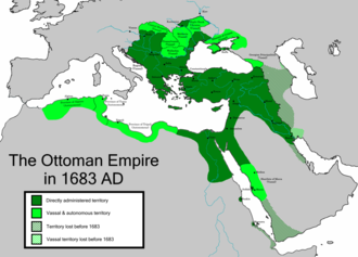 The Ottoman Empire at its greatest extent in 1683, under Sultan Mehmed IV OttomanEmpireMain.png
