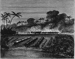 Ottoman expedition to Aceh - Ottoman and Acehnese guns, dismantled following the Dutch conquest of Aceh in 1874. Illustrated London News.