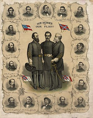 "Flags of the Confederate States of America - Three versions of the flag of the Confederate States of America and the Confederate Battle Flag are shown on this printed poster from 1896. The ""Stars and Bars"" can be seen in the upper left. Standing at the center are Stonewall Jackson, P. G. T. Beauregard, and Robert E. Lee, surrounded by bust portraits of Jefferson Davis, Alexander Stephens, and various Confederate army officers, such as James Longstreet and A. P. Hill."