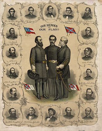 Modern display of the Confederate battle flag - 1896 lithograph of the three Confederate national flags and the battle flag