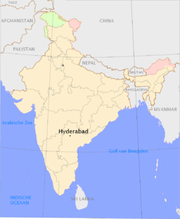 Hyderabads läge i Indien.